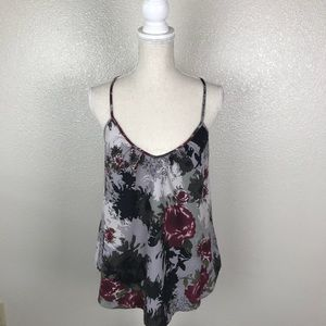 UO Sparkle & Fade Cut Out Back Floral Tank Top